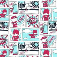 Hand drawn super hero Comic Pattern vector
