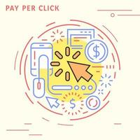 Pay per click flat line design in circle