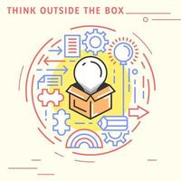 Think outside the box flat line design