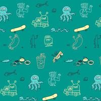 Sea animal pattern background vector