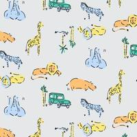 Zoo animal pattern background vector
