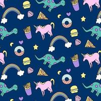 Unicorn and dinosaur pattern