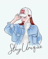 stay unique slogan with girl in jacket illustration