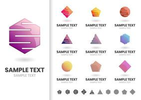 Set of cut out geometric shape logos  vector
