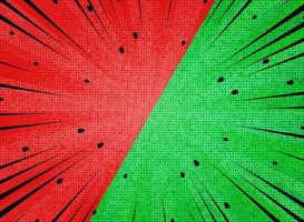 Abstract green red contrast sunburst black lines and dots pattern