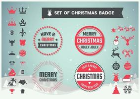 Set of retro round Christmas badges and icons