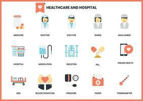 Conjunto de iconos de hospital y salud en blanco