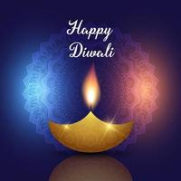 Happy Diwali background with oil lamp on decorative mandala