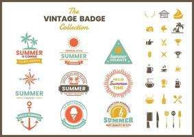 Set of colorful summer retro badges