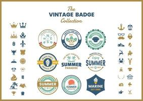 Set of blue green vintage logo badges