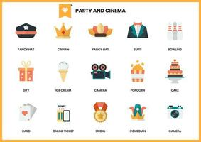 Set of cinema and party icons