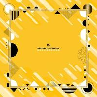Abstract yellow and white geometric shapes black frame