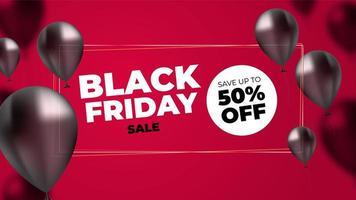 Black Friday Sales Banner med realistiska ballonger