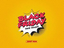 Fond noir vendredi vente de bande dessinée