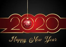 Happy New Year background with decorative text and hanging bauble