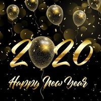 Happy New Year with gold glittery balloons 2020 vector