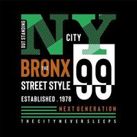 Tipografía de diseño de camiseta urbana verde de Nueva York