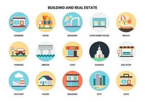 Building circular icons set for business