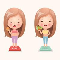 Girl eating junk and healthy food vector