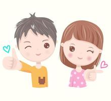 Kids giving thumbs up vector