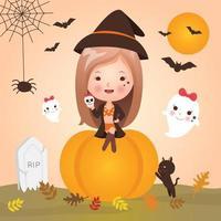 Nettes kleines Mädchen an Halloween