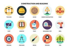 Construction circular icons set for business