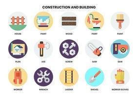 Satz Werkzeuge und Bauikonen für Geschäft vektor