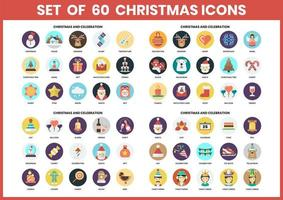 Circular Christmas icons set for business