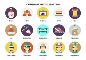 Set of circular Christmas icons