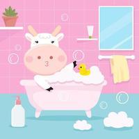 Vache mignonne se baignant dans la baignoire
