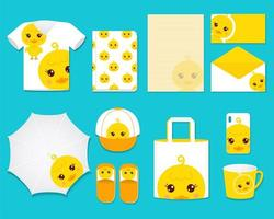 Cute Duck Graphic Gift Set vector