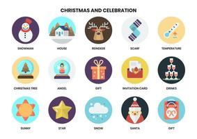 Set of circular xmas icons