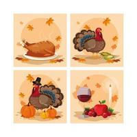 turkeys of thanksgiving day with set icons vector