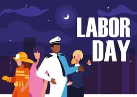 labor day with group professionals and cityscape