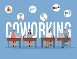 Coworking businesspeople at desks