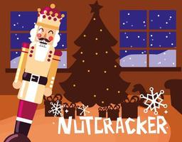 nutcracker king with tree christmas vector