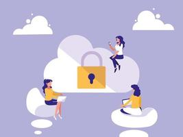 mini women with cloud computing and padlock