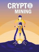 worker crypto mining bitcoins