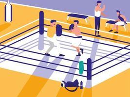 icono de la escena del ring de boxeo