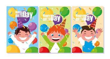 cartão de aniversário com meninos comemorando