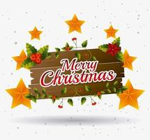 Merry christmas wooden sign with stars and berries vector