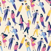 Young people walking and using phones seamless pattern