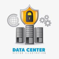 Data center set with icons vector