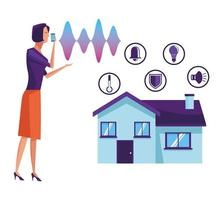 Woman using voice recognition vector