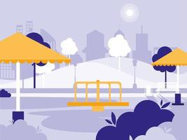 park with playground isolated icon vector