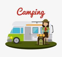 Camping aanhangwagen en backpacker vector