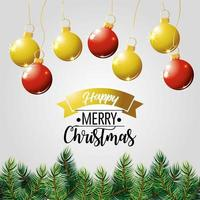 Feliz cartel de vacaciones de Navidad con árboles y adornos.