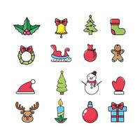 Conjunto de iconos de celebración de Navidad y decoración de vacaciones