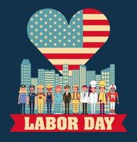 Patriotic Labor Day card with career professionals
