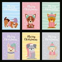 Set of dog Christmas cards vector